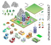 isometric building icon   ... | Shutterstock .eps vector #703683067