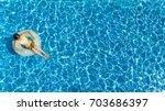 aerial top view of girl in... | Shutterstock . vector #703686397