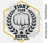 fight club sign  fist with... | Shutterstock .eps vector #703690363