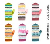 set of multicolored knitted... | Shutterstock .eps vector #703712083