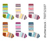 set of multicolored knitted... | Shutterstock .eps vector #703712107