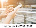 communication technology close... | Shutterstock . vector #703717387