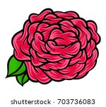 flower rose  red buds and green ... | Shutterstock .eps vector #703736083