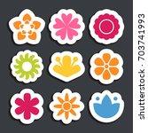 flower sticker icon collection. ... | Shutterstock .eps vector #703741993
