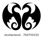 black dragon on a white... | Shutterstock .eps vector #703753153