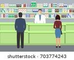 web banner of a pharmacist.... | Shutterstock .eps vector #703774243