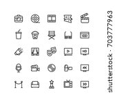 cinema outline icons | Shutterstock .eps vector #703777963