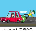scooter crash with woman car....   Shutterstock .eps vector #703788673