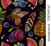 embroidery summer pattern.... | Shutterstock .eps vector #703799767