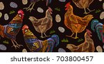 embroidery chicken and rooster... | Shutterstock .eps vector #703800457