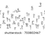 banner with tiny hand drawn... | Shutterstock .eps vector #703802467