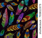 color feathers embroidery... | Shutterstock .eps vector #703812373