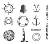set of sea and nautical vintage ... | Shutterstock .eps vector #703814833