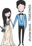 watercolor wedding illustration ... | Shutterstock .eps vector #703819603