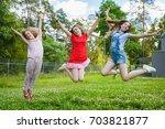 children jumping on grass in... | Shutterstock . vector #703821877