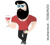 the ideal man with a beard and... | Shutterstock .eps vector #703829653