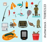 fishing color icons set for web ... | Shutterstock .eps vector #703852123