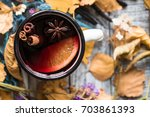 Mulled Wine In Autumn Foliage