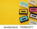 retro cassette tape collection... | Shutterstock . vector #703865377