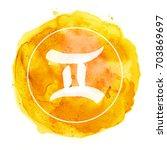 gemini zodiac sign on... | Shutterstock . vector #703869697