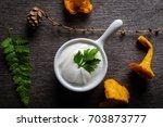 ingredients for yellow mushroom ... | Shutterstock . vector #703873777