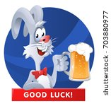 funny rabbit giving a toast... | Shutterstock .eps vector #703880977