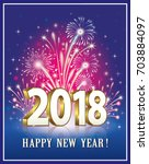 postcard happy new year 2018 on ... | Shutterstock .eps vector #703884097