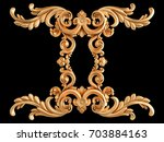 gold ornament on a black... | Shutterstock . vector #703884163