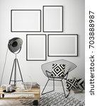 mock up poster frame in hipster ... | Shutterstock . vector #703888987