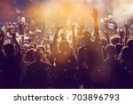 crowd at concert   cheering... | Shutterstock . vector #703896793