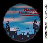 halloween design   witch  cat ... | Shutterstock .eps vector #703898983