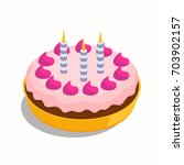 birthday large cake with three... | Shutterstock .eps vector #703902157