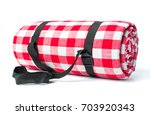 plaid picnic blanket isolated... | Shutterstock . vector #703920343