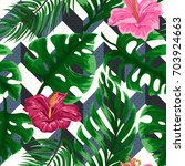 tropical seamless pattern with... | Shutterstock .eps vector #703924663