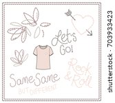 girls t shirt embroidery text... | Shutterstock .eps vector #703933423