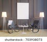 mockup poster in the interior... | Shutterstock . vector #703938073