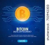 bitcoin logo and emblem.... | Shutterstock .eps vector #703942303