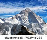Small photo of View of mount Makalu (8463 m) from Kongma La pass - Way to Everest base camp, three passes trek, Everest area, Sagarmatha national park, Khumbu valley, Nepal