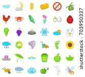earth icons set. cartoon style... | Shutterstock .eps vector #703950337