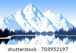 vector illustration   lake in... | Shutterstock .eps vector #703952197