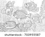 coloring page of underwater... | Shutterstock .eps vector #703955587