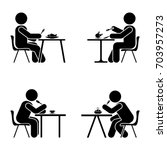 eating and sitting pictogram.... | Shutterstock . vector #703957273
