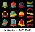set of vector badge with ribbon ... | Shutterstock .eps vector #703959643