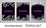 banners set with silver floral... | Shutterstock .eps vector #703961167