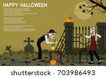 two ghosts have a halloween ... | Shutterstock .eps vector #703986493