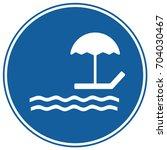 beach sign blue. vector. | Shutterstock .eps vector #704030467