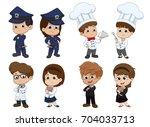 set of kid occupation police... | Shutterstock .eps vector #704033713