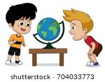 the children are studying about ... | Shutterstock .eps vector #704033773