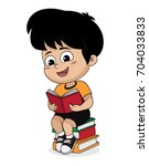 boy reading a book in the... | Shutterstock .eps vector #704033833