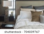 luxury bedroom style with set... | Shutterstock . vector #704039767